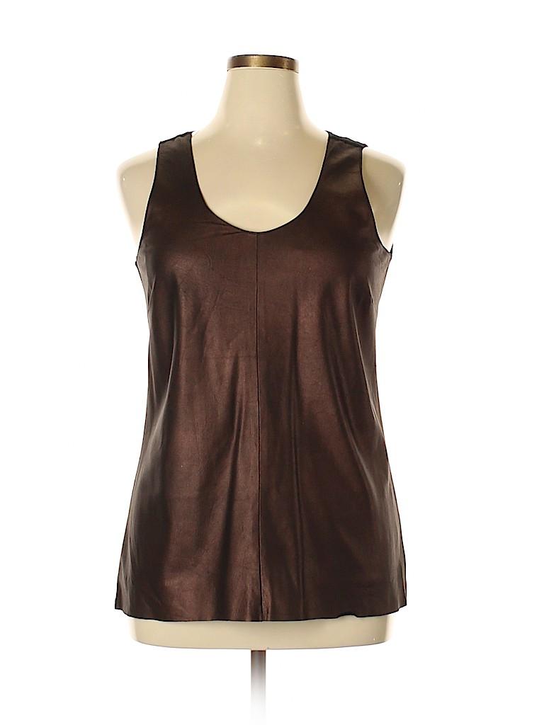 Ecru Women Leather Top Size L