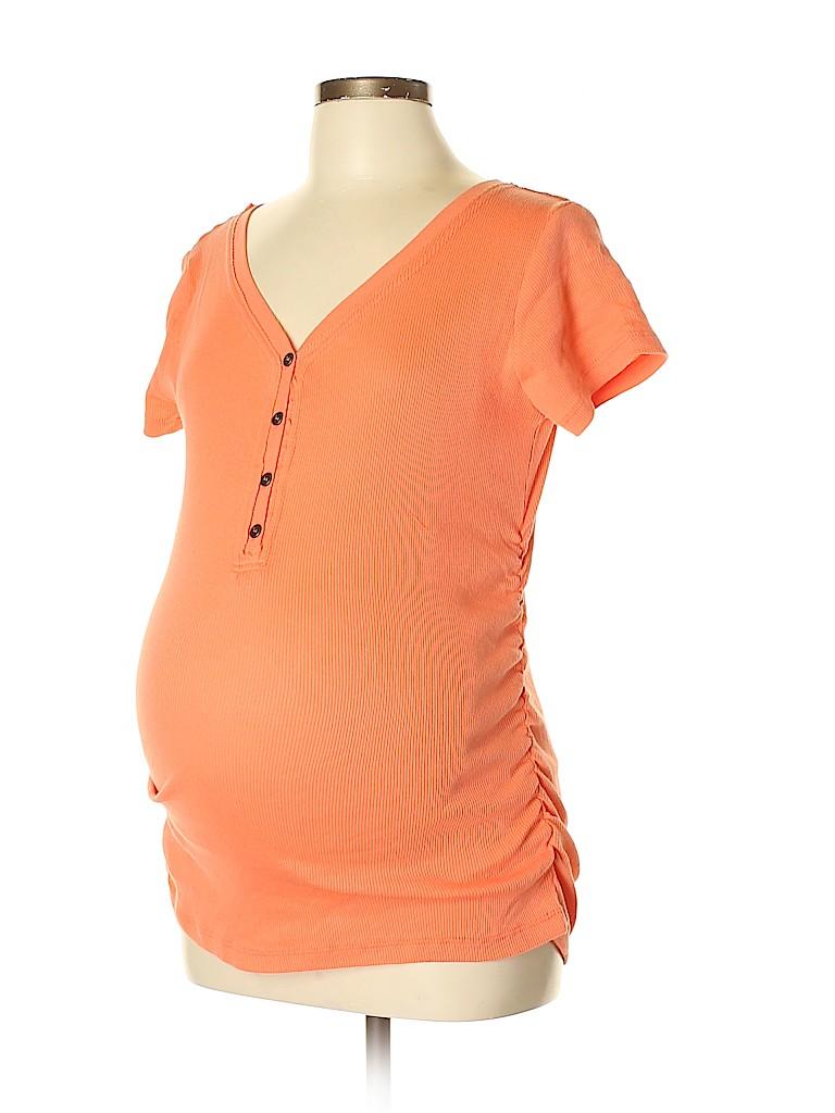 Inspire Maternity Women Short Sleeve Henley Size L (Maternity)