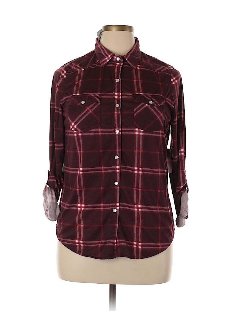 Passport Women 3/4 Sleeve Button-Down Shirt Size XL