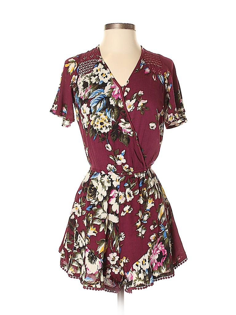 bdd59420726d Xhilaration Floral Dark Purple Romper Size XS - 62% off