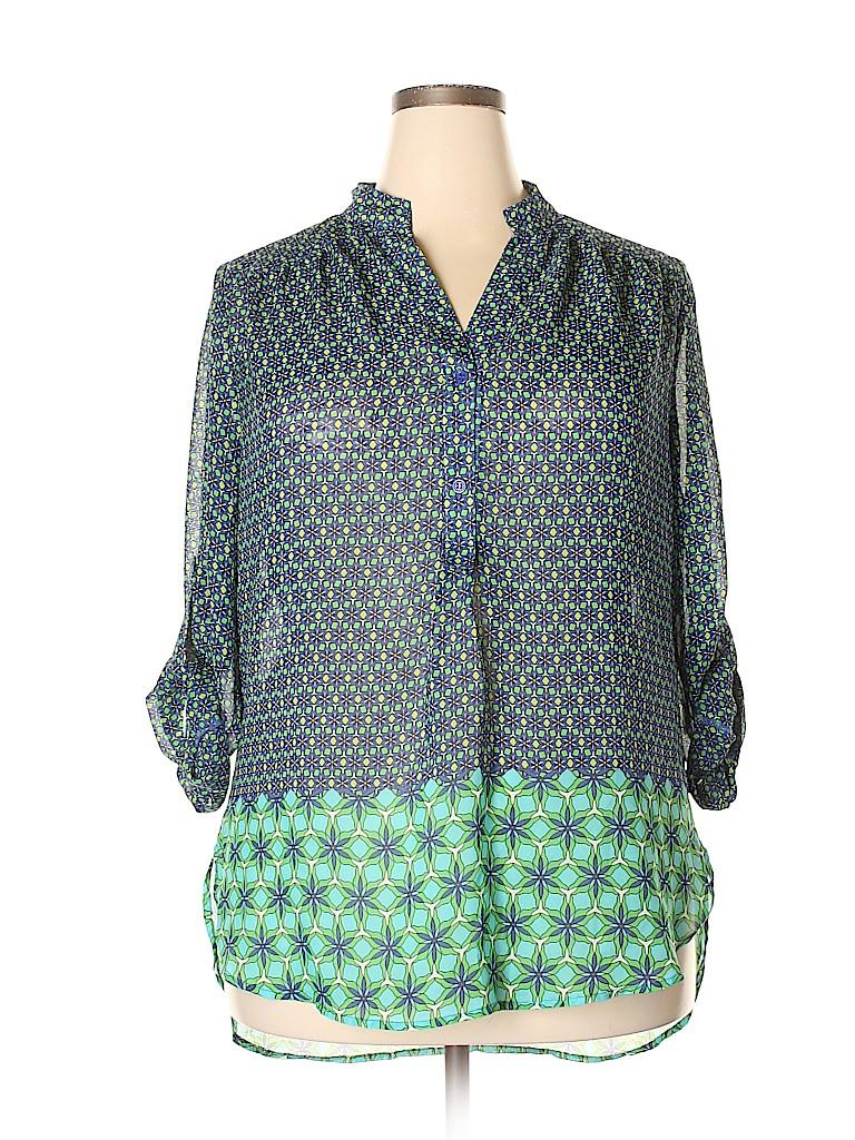 Tacera Women 3/4 Sleeve Blouse Size 1X (Plus)