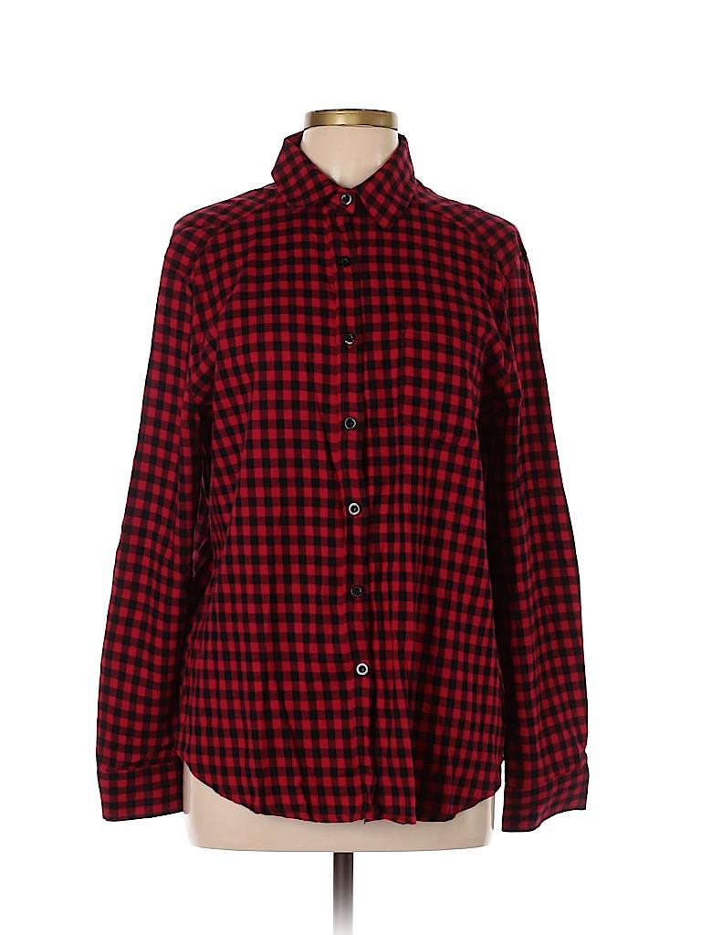 Amaryllis Women Long Sleeve Button-Down Shirt Size L