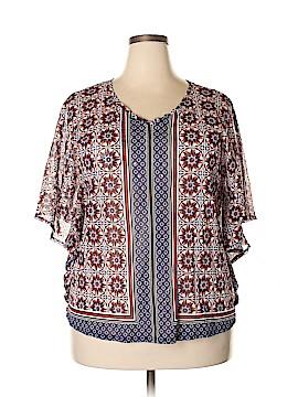 6e072a73b INC International Concepts Short Sleeve Blouse Size 2X (Plus)
