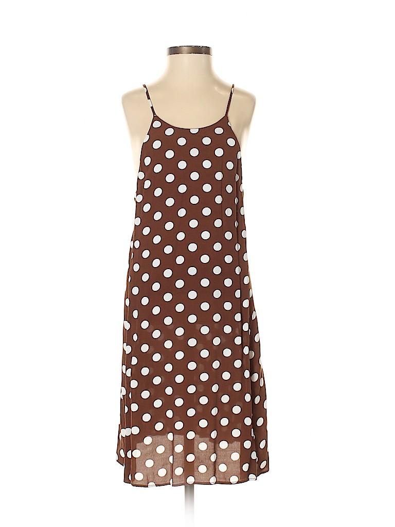 c5bb468f4372b Zara Basic 100% Polyester Polka Dots Brown Casual Dress Size XS - 58 ...