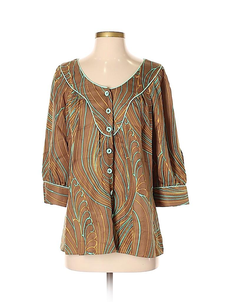 An original MILLY of New York Women Short Sleeve Silk Top Size 4