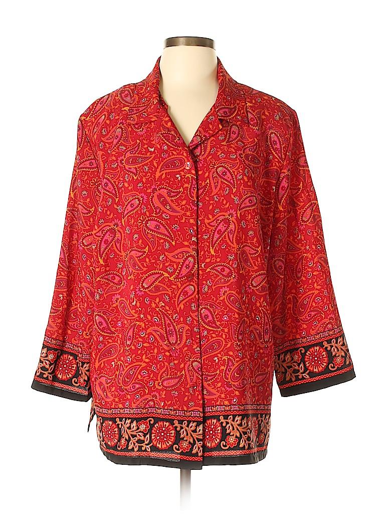 Sag Harbor Women 3/4 Sleeve Blouse Size XL