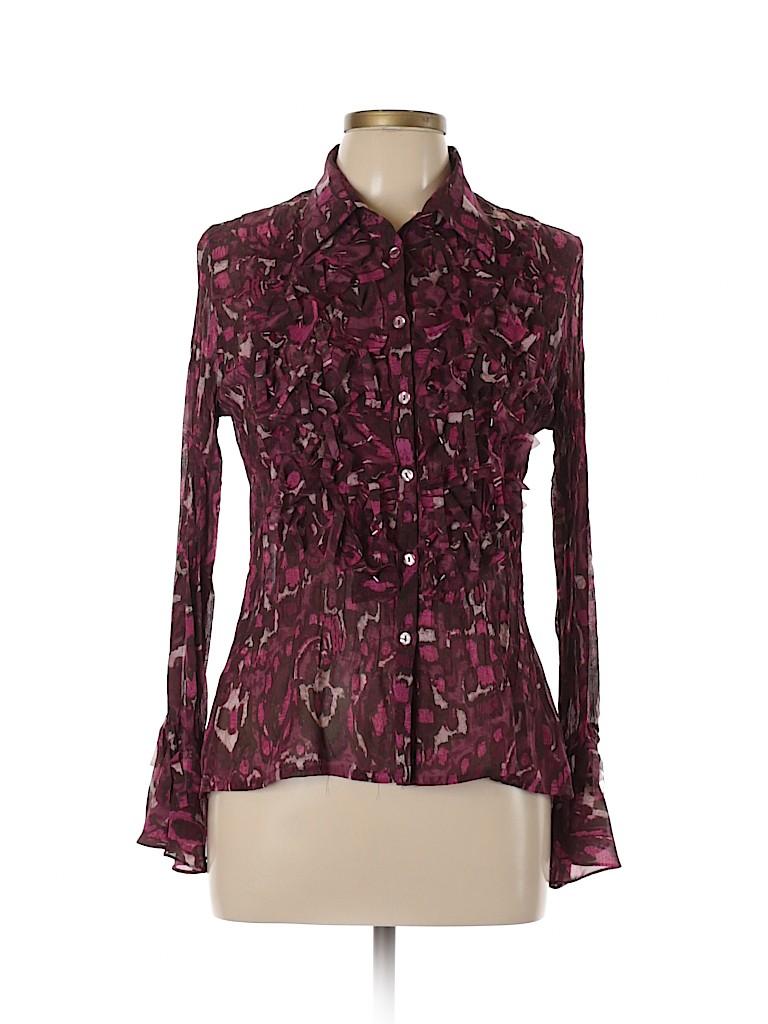 Notations Women Long Sleeve Button-Down Shirt Size M