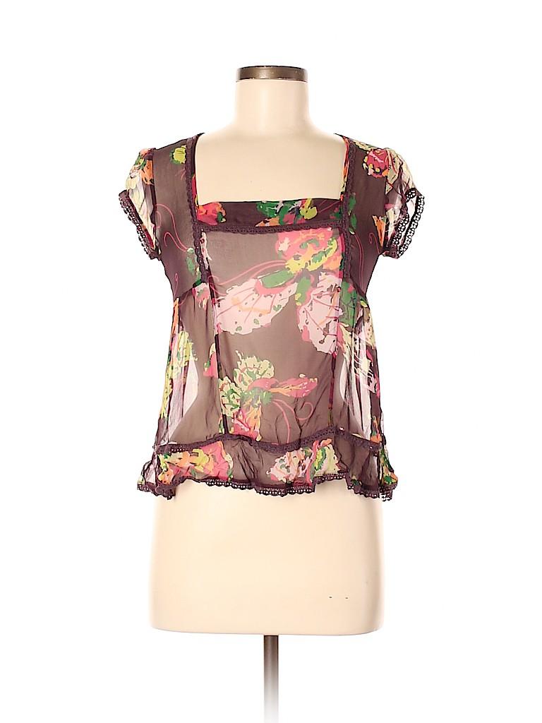 Fei Women Short Sleeve Silk Top Size 6