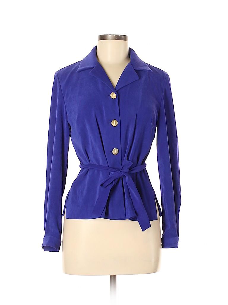 Leslie Fay Women Long Sleeve Button-Down Shirt Size 6 (Petite)
