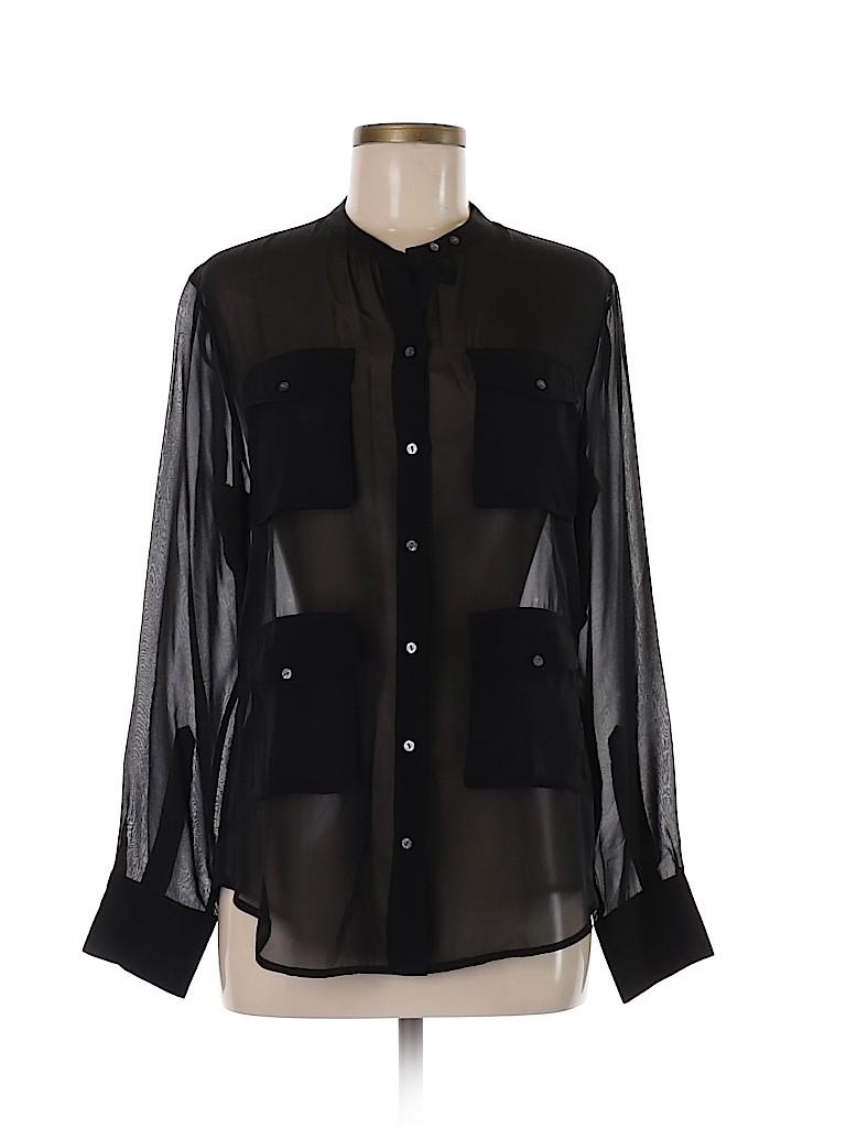 Broadway & Broome Women Long Sleeve Silk Top Size M