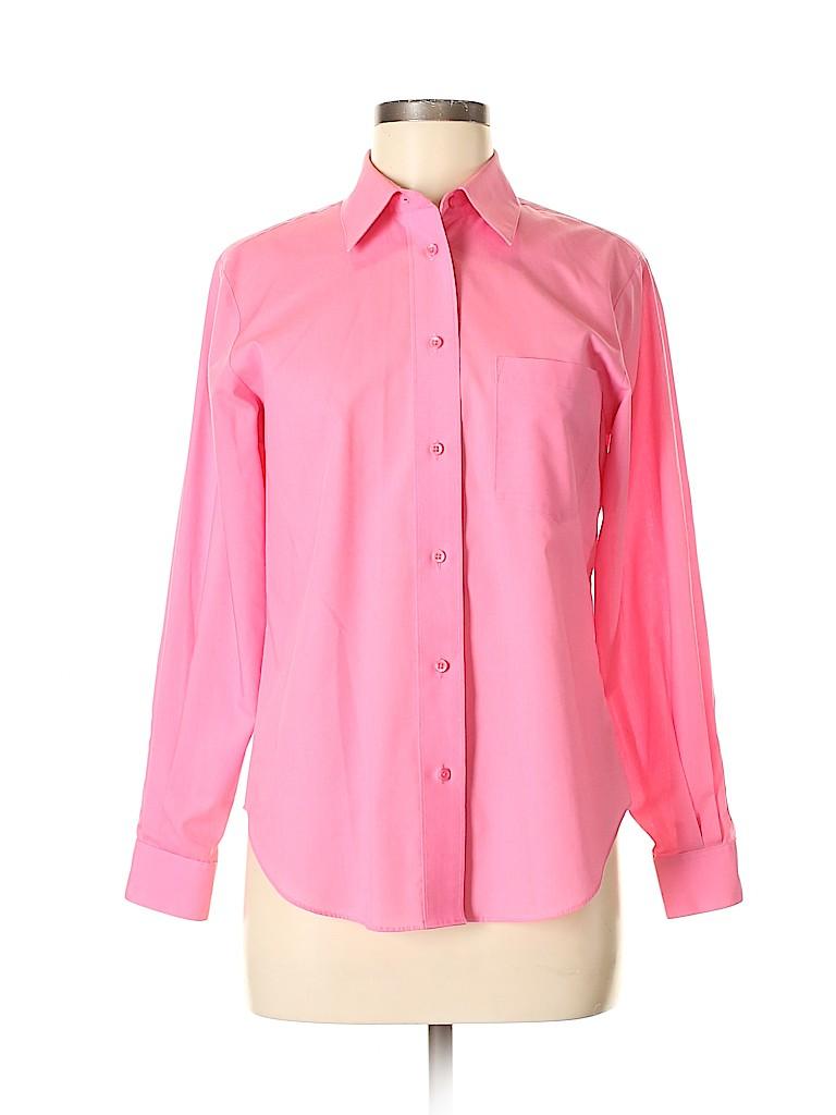 Foxcroft Women Long Sleeve Button-Down Shirt Size 8 (Petite)
