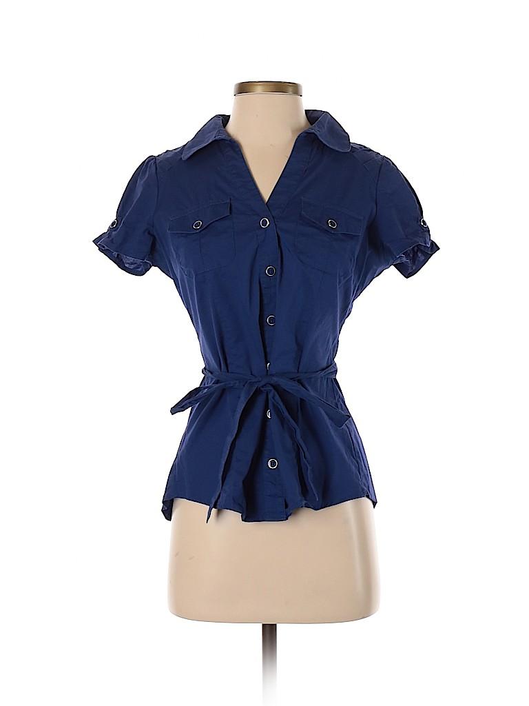 Charlotte Russe Women Short Sleeve Button-Down Shirt Size M