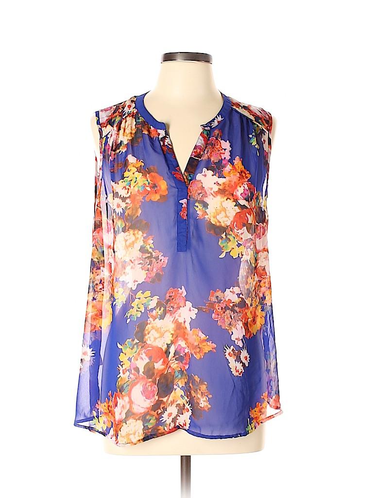 b5c306d573d27b Daniel Rainn 100% Polyester Floral Blue Sleeveless Blouse Size XL ...