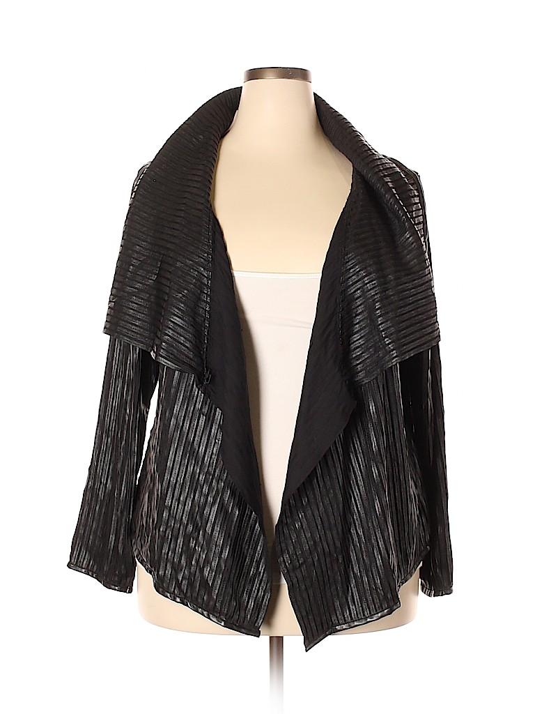 fd70aca965a Lane Bryant 100% Polyurethane Solid Black Faux Leather Jacket Size ...