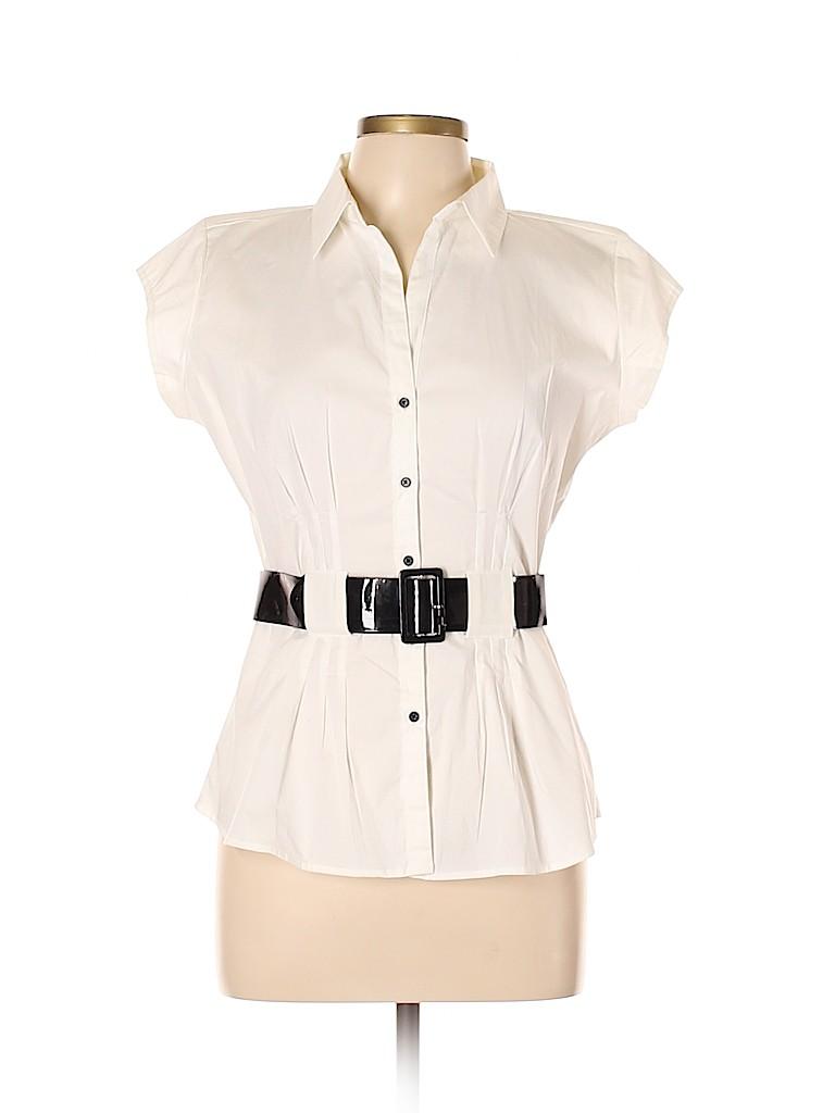 Quizz Women Short Sleeve Button-Down Shirt Size L