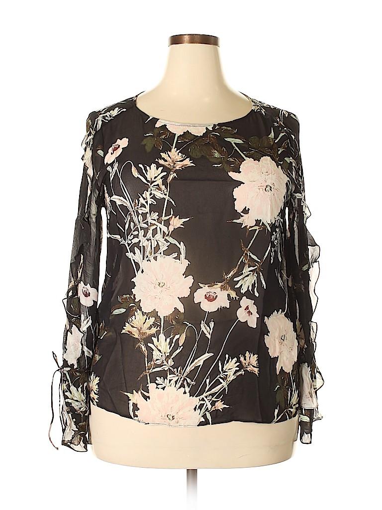 6a04aebe1cde3e Lucky Brand Black Long Sleeve Blouse Size XL - 66% off
