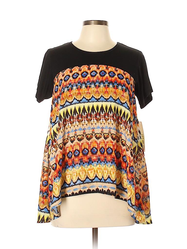 Hannah Women Short Sleeve Blouse Size M