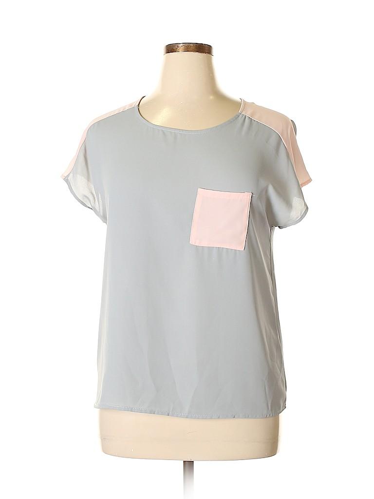 Le Lis Women Short Sleeve Blouse Size L