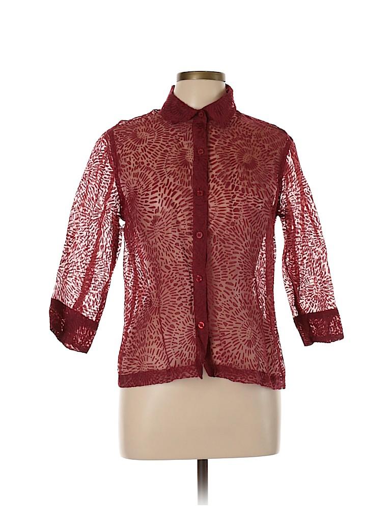 Choices Women Short Sleeve Button-Down Shirt Size L (Petite)