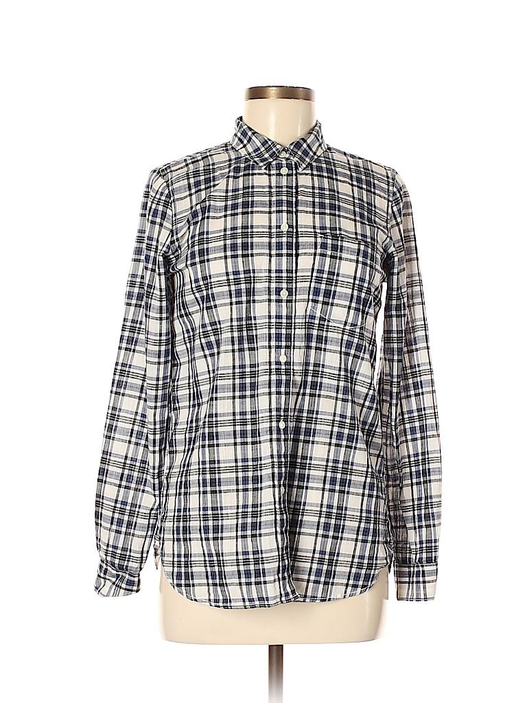 Madewell Women Long Sleeve Button-Down Shirt Size Med SLIM