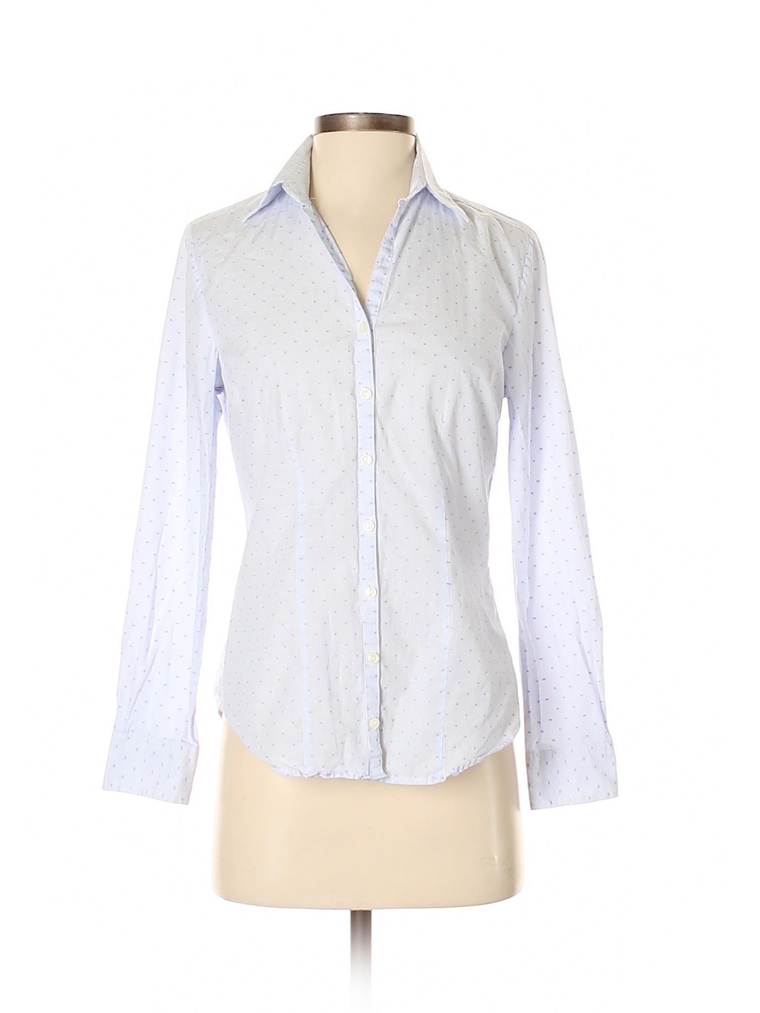 Details About Charles Tyrwhitt Women Blue Long Sleeve Button Down Shirt 4