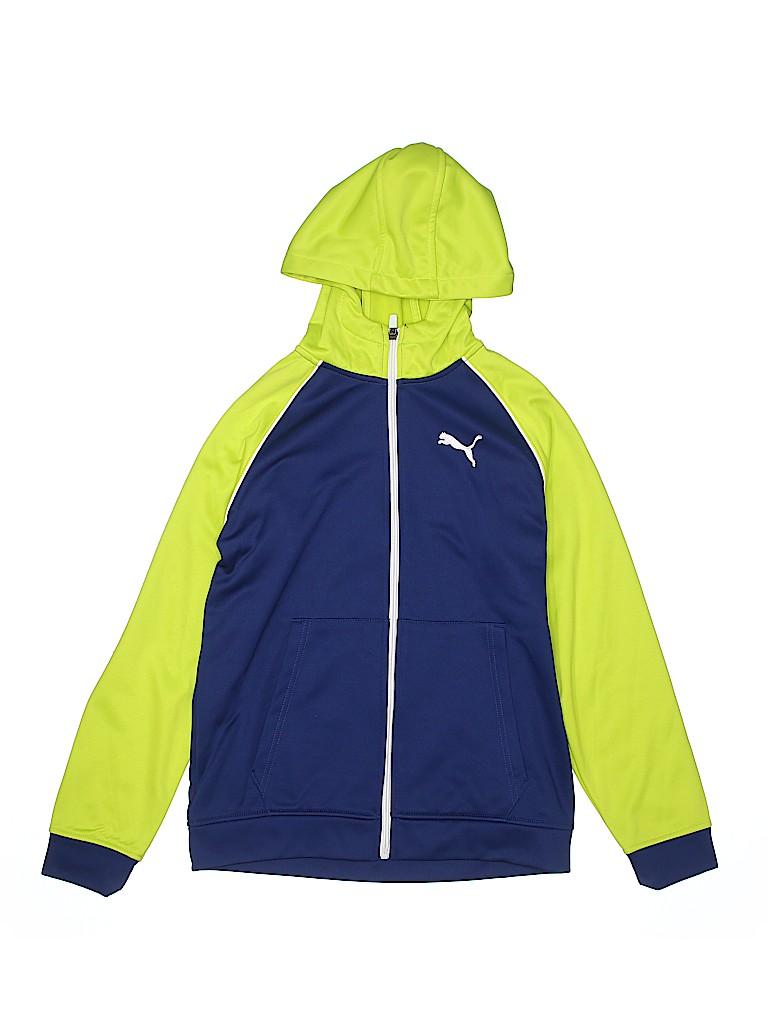 7ecebadac Puma 100% Polyester Solid Blue Zip Up Hoodie Size M (Kids) - 51% off ...