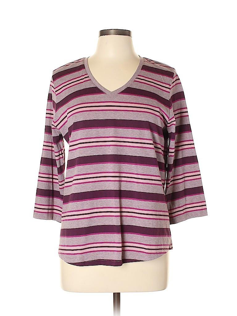 Basic Editions Women 3/4 Sleeve T-Shirt Size L