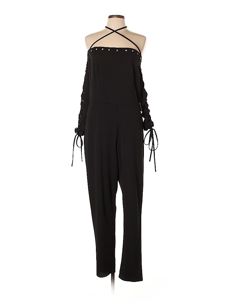 Fashion To Figure Solid Black Jumpsuit Size 0x Plus 0