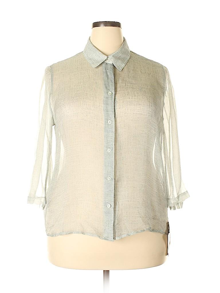 Jones New York Women Long Sleeve Silk Top Size 18 (Plus)