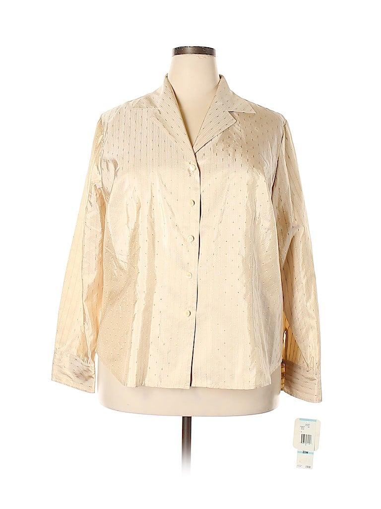 Jones New York Collection Women Long Sleeve Silk Top Size 20 (Plus)