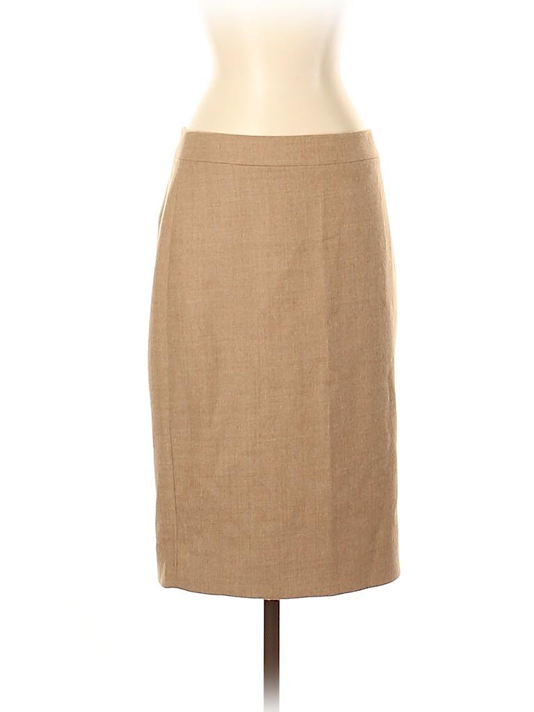 44007018d1 J. Crew 100% Wool Solid Tan Wool Skirt Size 4 - 85% off | thredUP