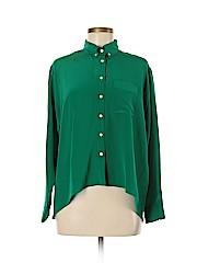 Amanda Uprichard Long Sleeve Silk Top