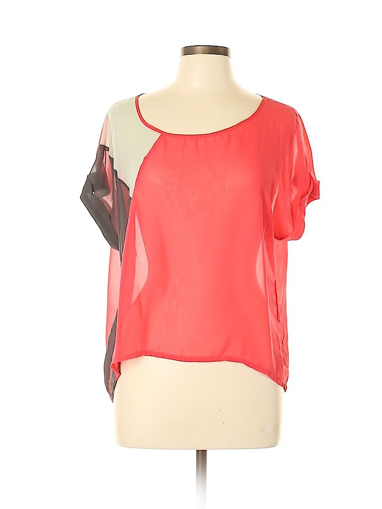 Chloe K Women Short Sleeve Blouse Size L