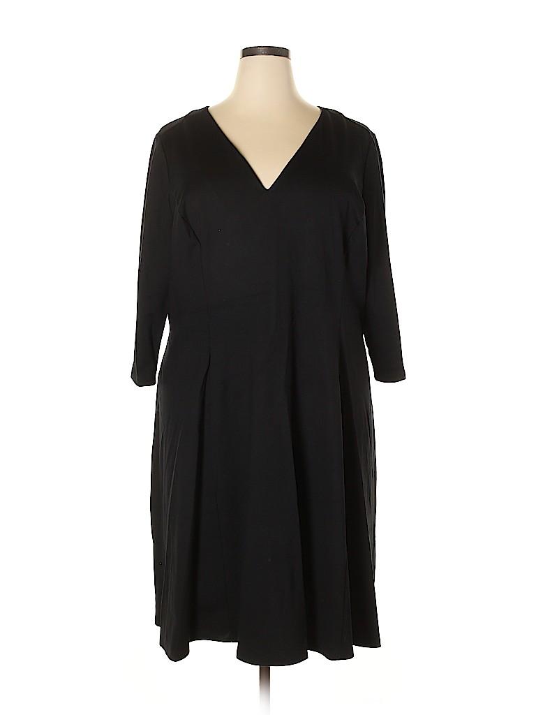 a874170d36eb Lane Bryant 100% Cotton Solid Black Casual Dress Size 28 - 26 Plus ...