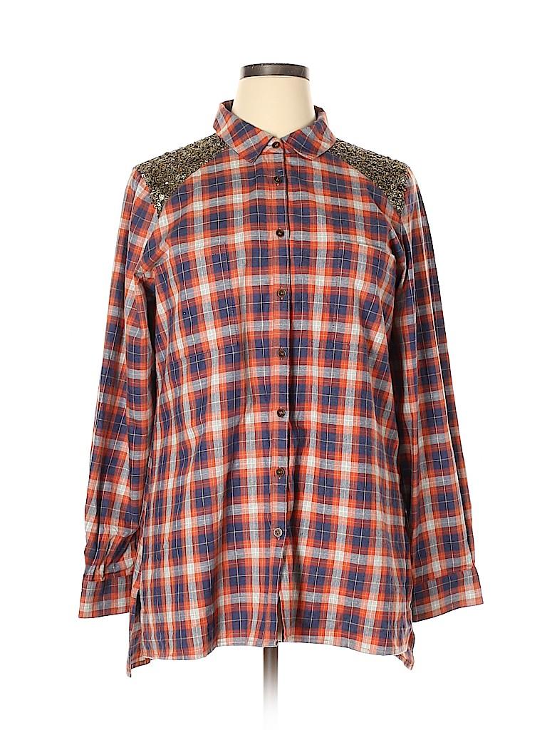 Orvis Women Long Sleeve Button-Down Shirt Size XL