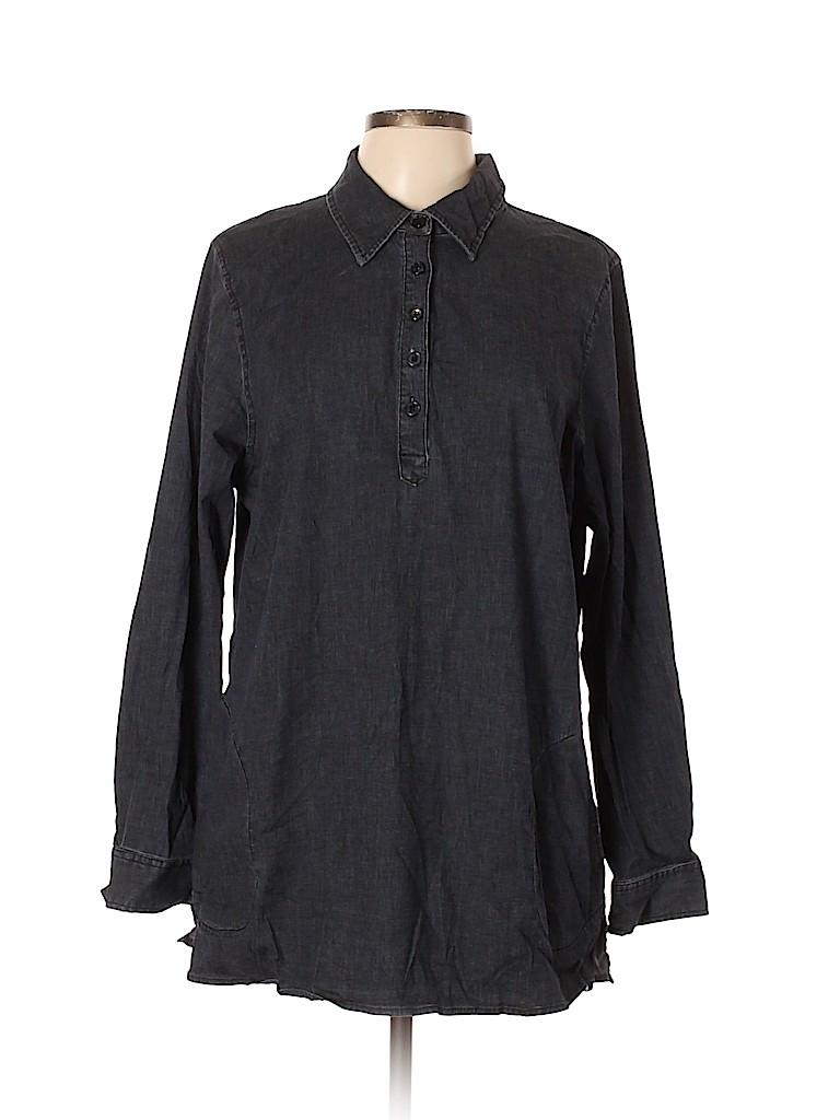 D&Co. Women Long Sleeve Button-Down Shirt Size L