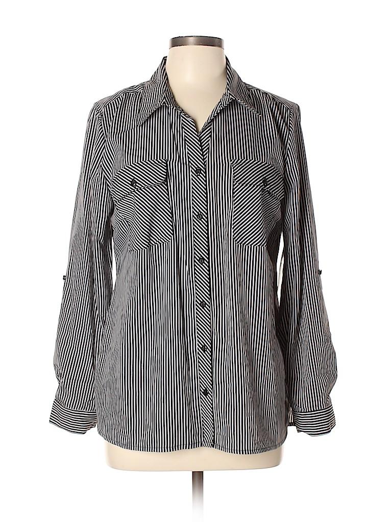 Kim Rogers Women Long Sleeve Button-Down Shirt Size L