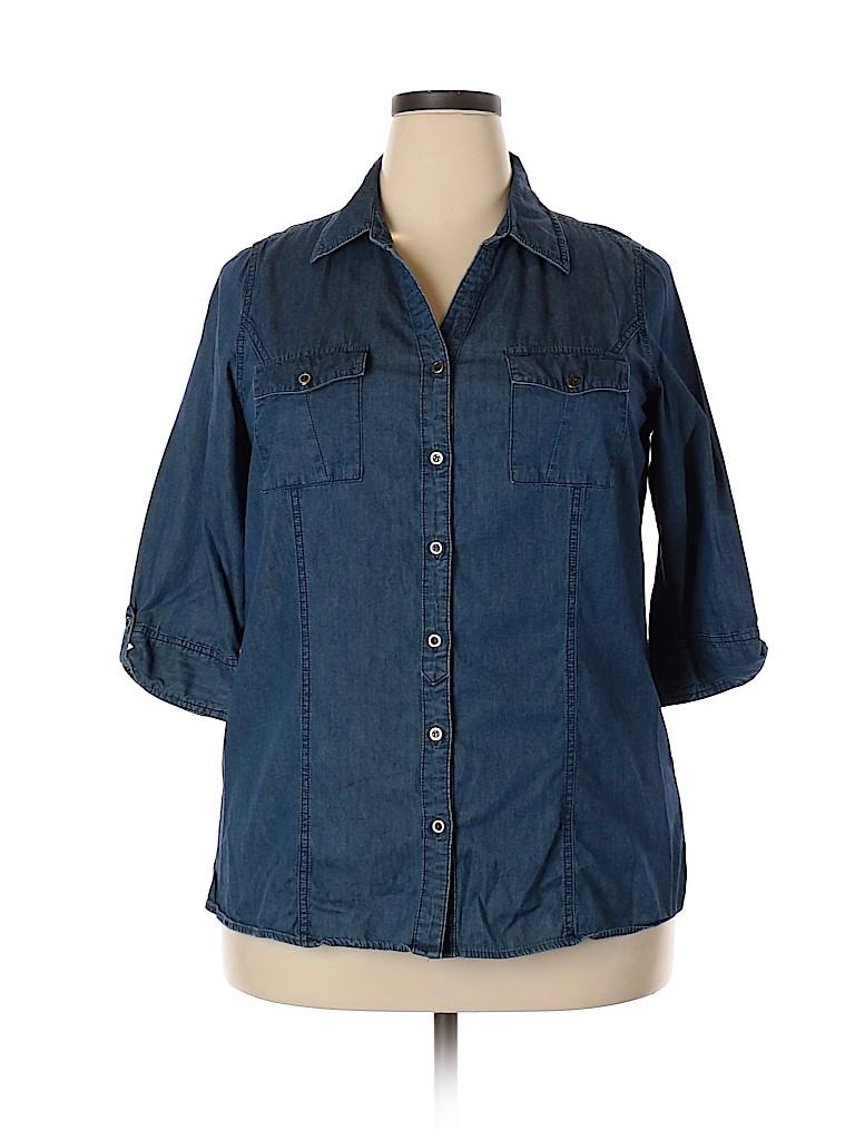 Essentials Women 3/4 Sleeve Button-Down Shirt Size 0X (Plus)