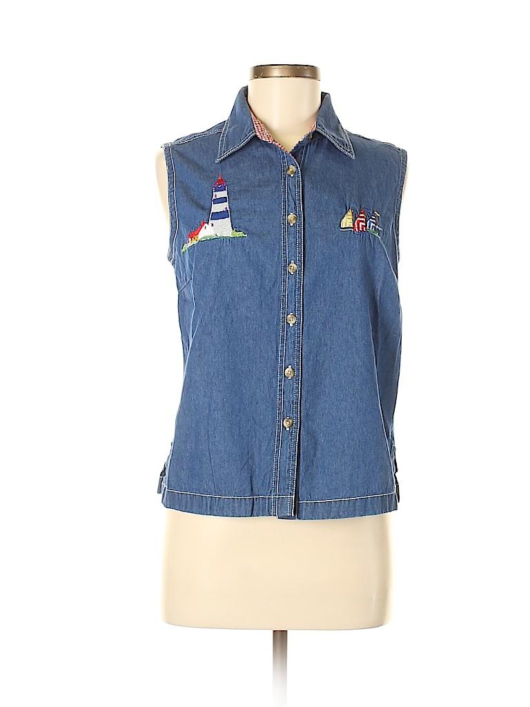 Blair Women Sleeveless Button-Down Shirt Size M