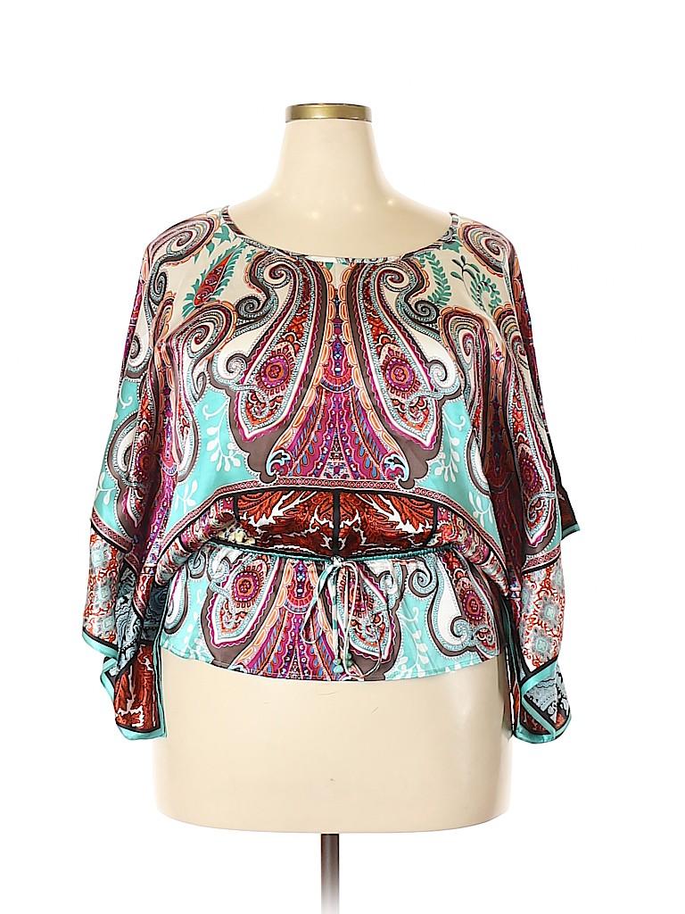 Karen Kane Women Short Sleeve Silk Top Size XL