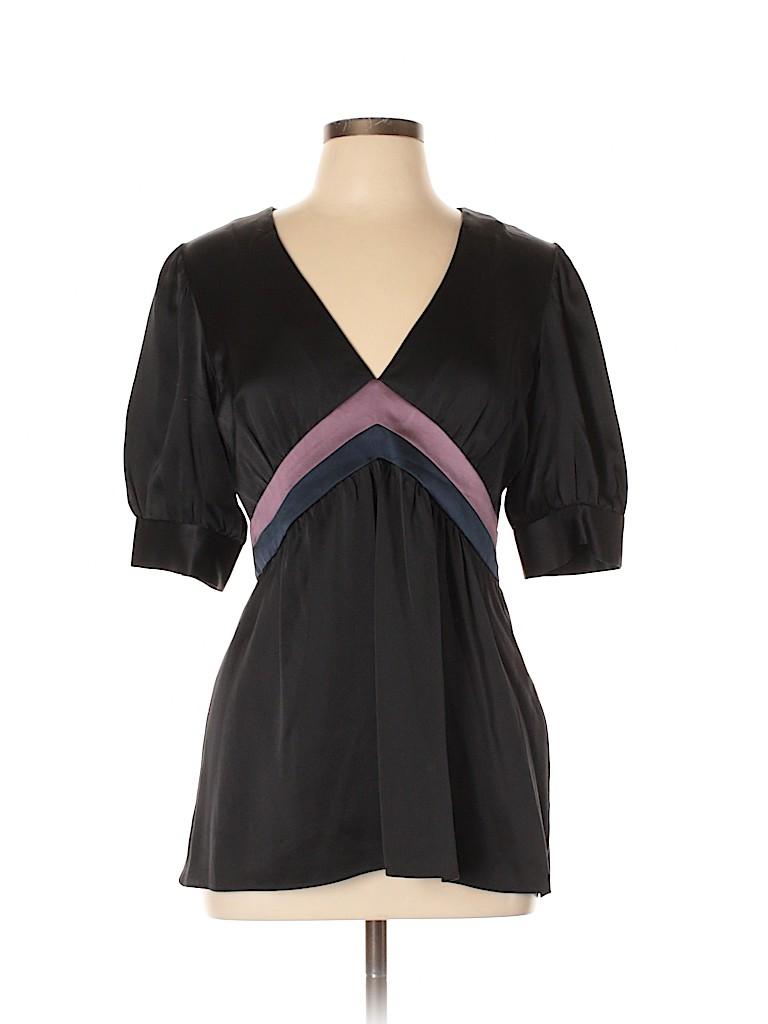 Cynthia Rowley Women Short Sleeve Silk Top Size L