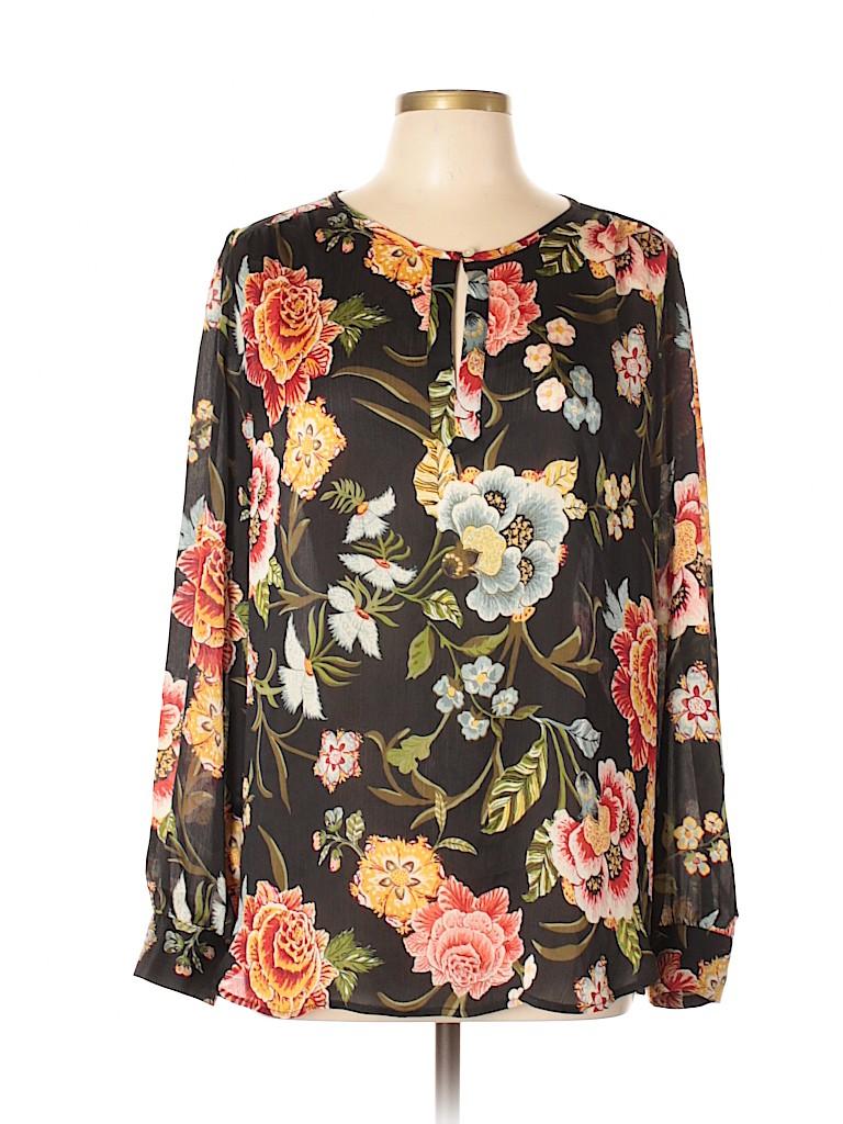 6e257818046 Ann Taylor LOFT 100% Polyester Floral Black Long Sleeve Blouse Size ...