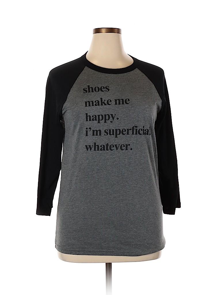 Canvas Women 3/4 Sleeve T-Shirt Size L
