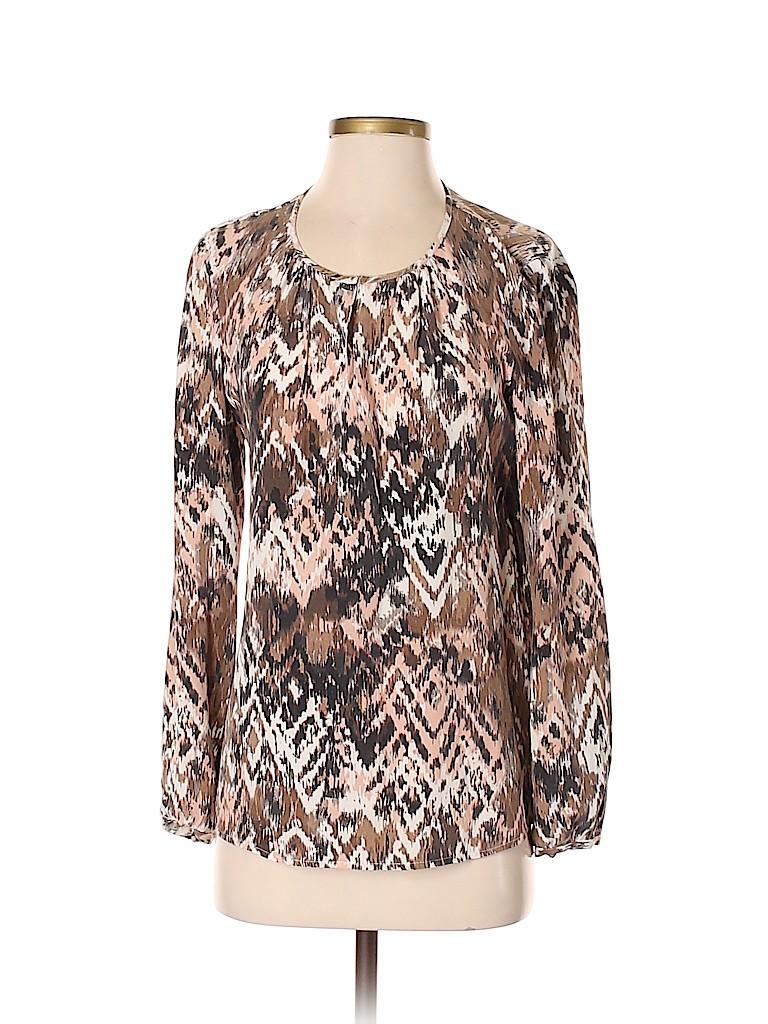 Ecru Women Long Sleeve Silk Top Size S