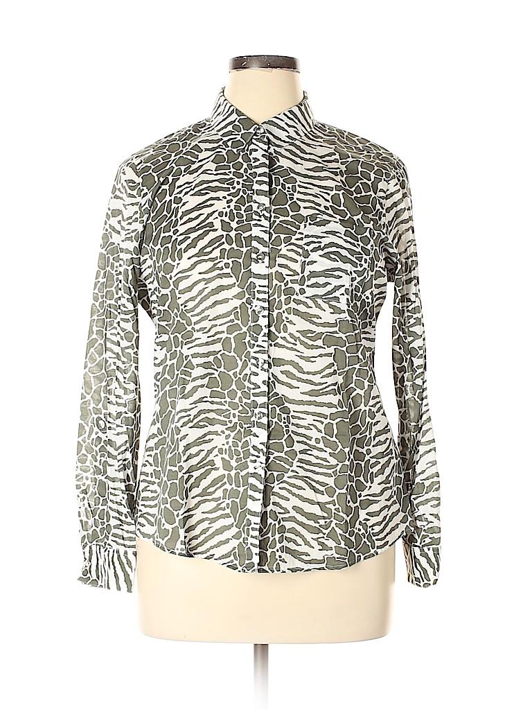 Foxcroft Women Long Sleeve Button-Down Shirt Size 16 (Petite)