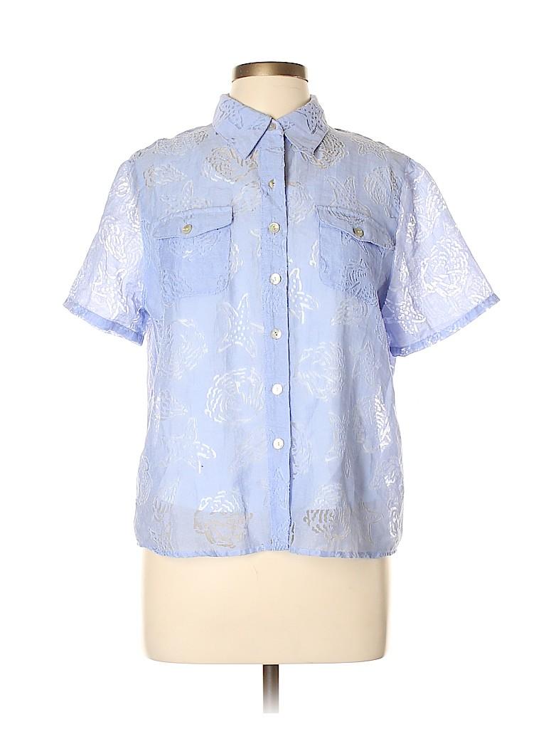 Alfred Dunner Women Short Sleeve Button-Down Shirt Size 12 (Petite)