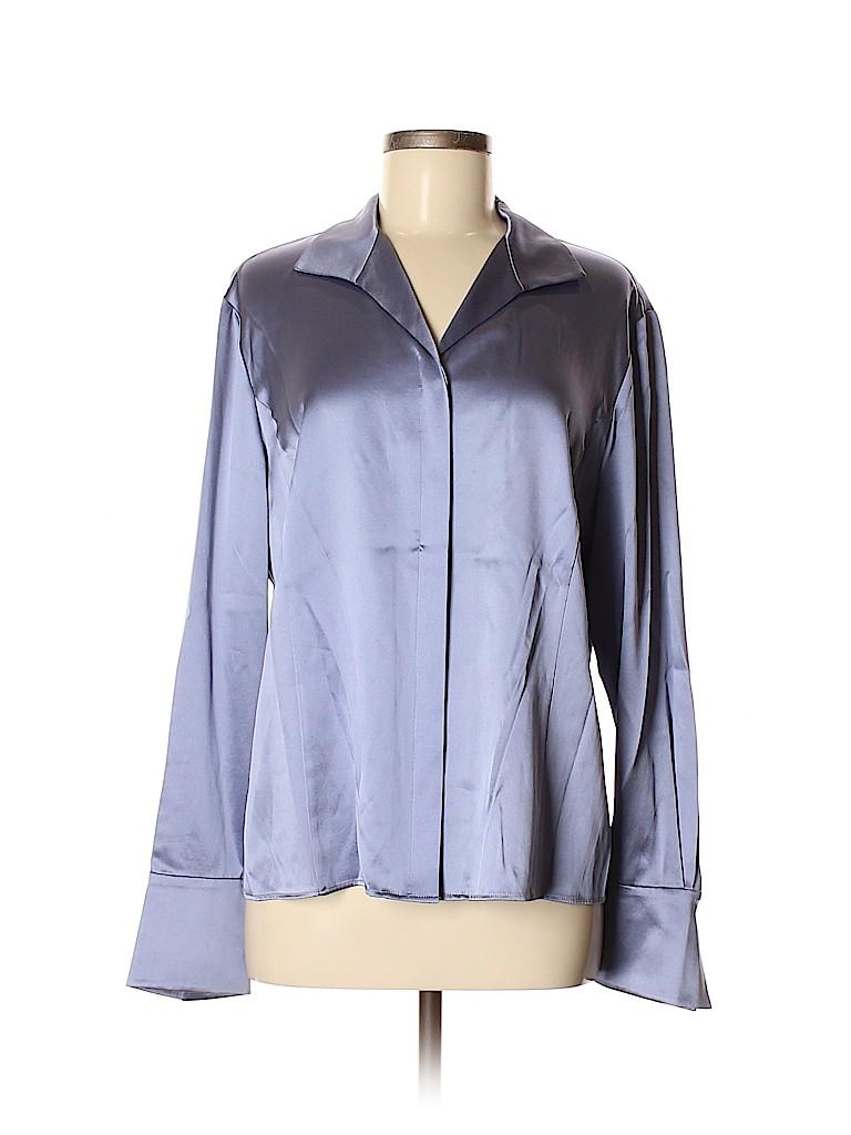 Lafayette 148 New York Women Long Sleeve Silk Top Size 4