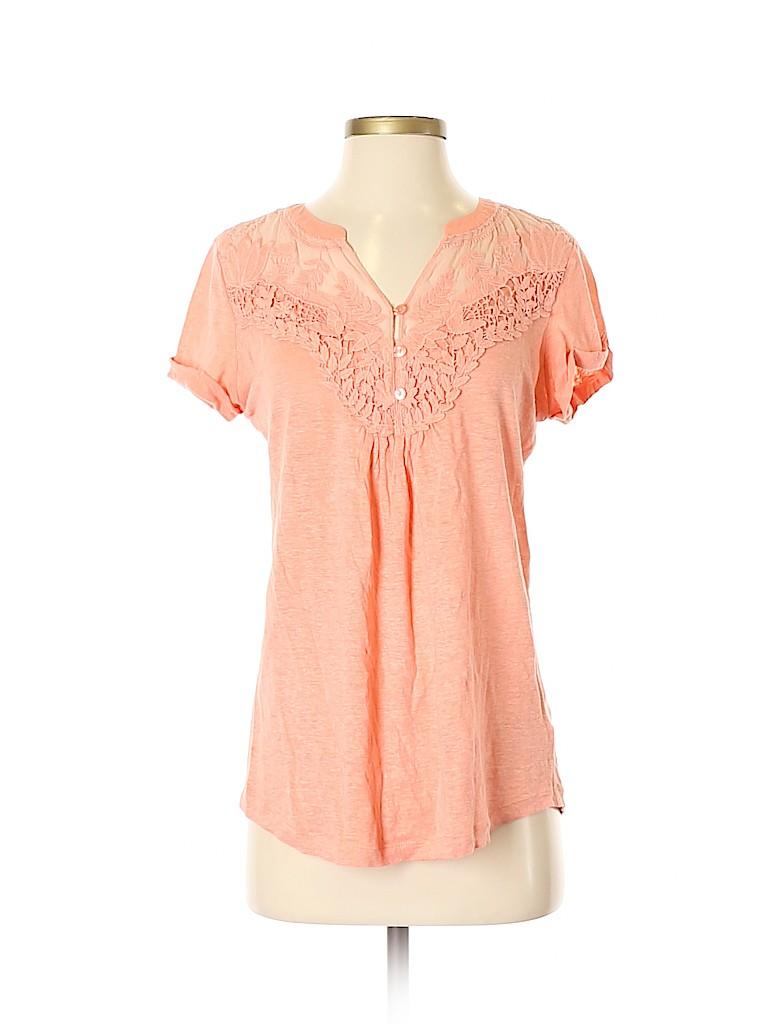 Deletta Women Short Sleeve Henley Size S