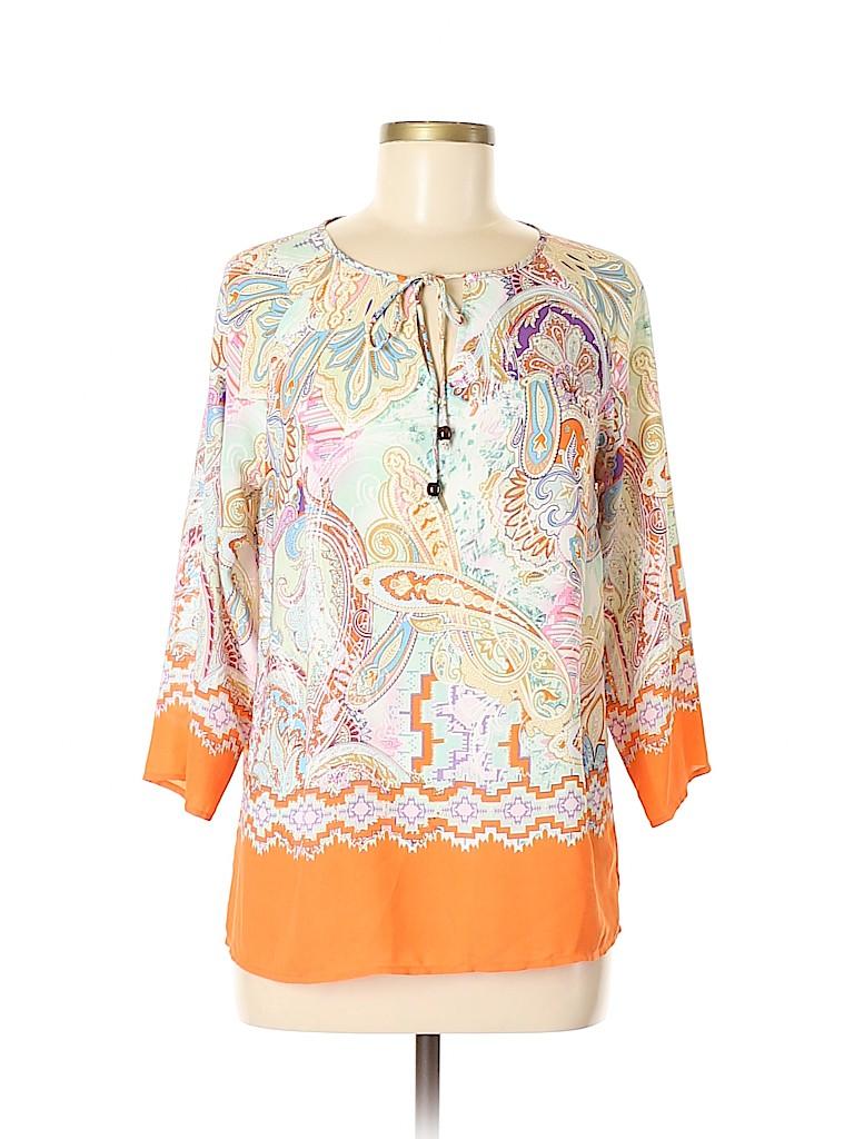 Saint Tropez West Women 3/4 Sleeve Blouse Size S