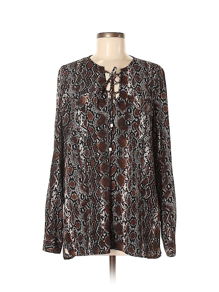 MICHAEL Michael Kors Women Long Sleeve Silk Top Size M